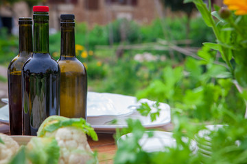 garden party with wine and healthy food
