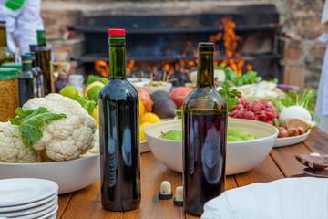 Mediterranean kitchen and cooking ingredients