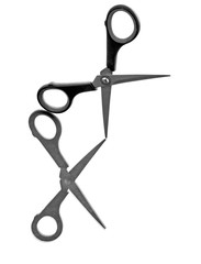 Scissors with reflection, seem to dance, on white