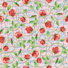 Vector seamless pattern with red roses.