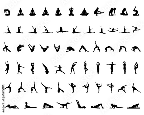 Silhouettes of yoga and gymnastics, vector - 80698118