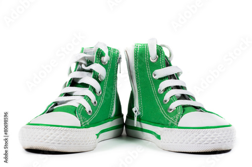 Pair of fashionable sneakers isolated - 80698596