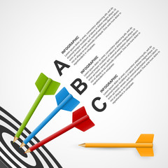Abstract education infographic template target with pencils.
