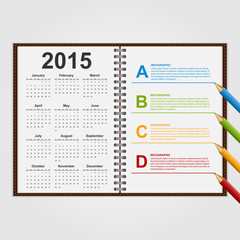 Infographics template. Open notebook with calendar and schedule.