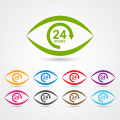 24 hours customer service icon in the form of eye.