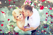 Beautiful wedding couple , groom kisses the bride - 80699732
