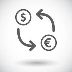 Currency exchange single flat icon.
