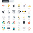 Set of modern flat design business and marketing icons