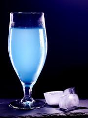 Blue cocktail  on black background 16.