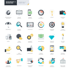 Set of modern flat design business and banking icons