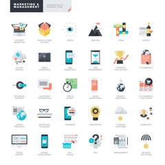 Set of modern flat design marketing and management icons