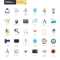Set of modern flat design icons for graphic and web designers