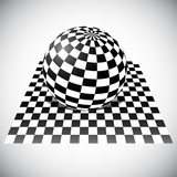 Checkered Sphere on Checkered Plane. 3D Abstract Vector