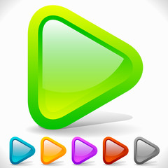 Rounded Play Buttons. Eps 10 Vector Graphics