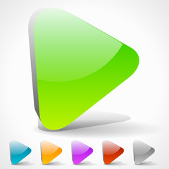 3D Play Buttons with Vivid Colors or Generic Arrow Pointing Righ