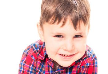 funny smiling boy portrait on white background