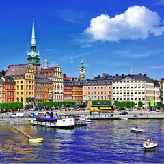 Stockholm, view with canal and old town