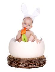 girl easter rabbit sitting in a giant easter egg eating carrot