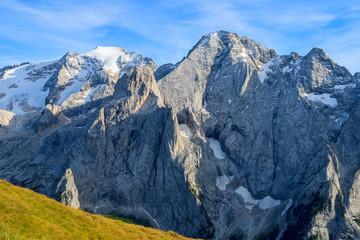 View of Marmolada peak in Dolomites Mountains in autumn, Italy