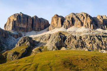 View of Dolomites Mountains at Passo Pordoi in autumn, Italy