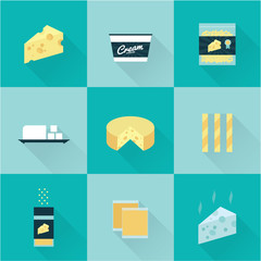 all cheese types icon set