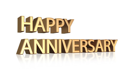 Happy Anniversary message in gold letters on white background