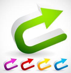 3D Colorful U turn / Backward or Return Arrows