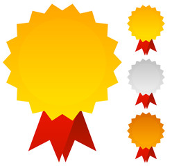 Medals, Badges or Awards in Gold, Silver and Bronze with Red Rib