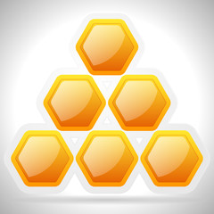 Honeycomb, honey cell illustration / icon isolated. Organic swee