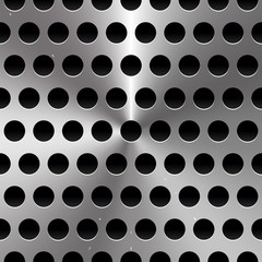 Metal Sheet / Surface with Holes. Perforated Metal background.