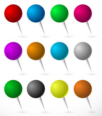 Push pin, thumbtack set with sphere heads. Several colors.
