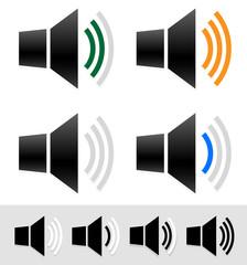 Volume, sound level indicators with speaker icons.