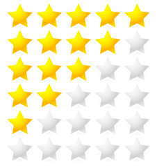 5 Star Rating System. Star rating vector with bright star shapes
