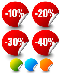 Discount Stickers, labels with Minus 10 to 40 Percents