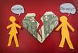 fighting divorce couple concept