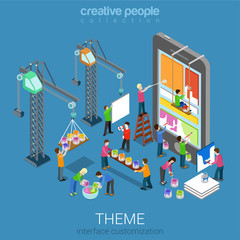 Flat 3d isometric mobile theme interface customization concept