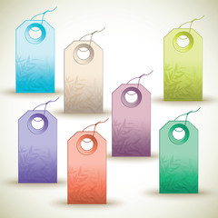 Many colorful tags on white background.