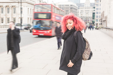 Beautiful redhair woman portrait in London