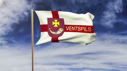 Ventspils flag with title waving in the wind. Looping sun rises