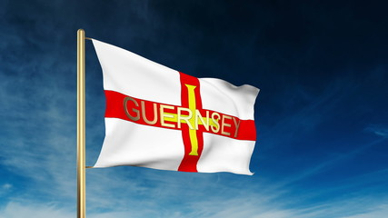 Guernsey flag slider style with title. Waving in the wind with