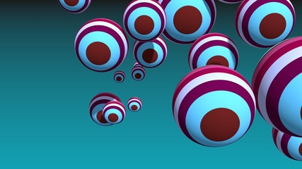 striped spheres group on blue sky backdrop