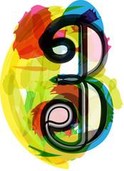 Artistic Font - Number 3