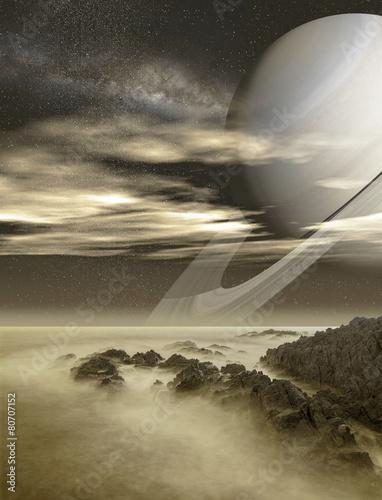 Deurstickers Ruimtelijk Saturn viewed from Titan moon