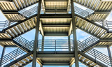 The silhouette of structure of iron stairway