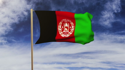 Afghanistan flag waving in the wind. Green screen, alpha matte