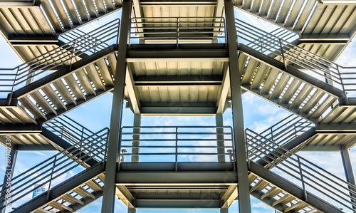 Aluminium Trappen The silhouette of structure of iron stairway