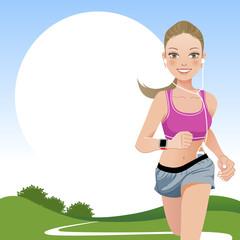女性 ランニング エクササイズ Running woman in country side