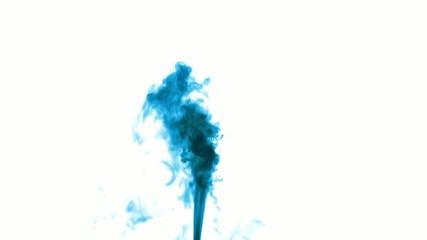 Blue smoke on white isolated