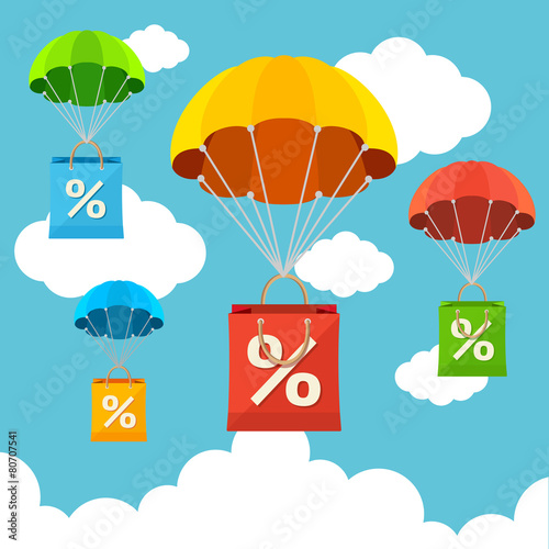 Vector parachute with paper bag sale. Flat Design - 80707541