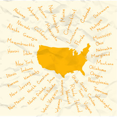 Hand Drawn USA states vector on crumpled paper illustration